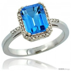 Sterling Silver Diamond Natural Swiss Blue Topaz Ring 1.6 ct Emerald Shape 8x6 mm, 1/2 in wide -Style Cwg04129