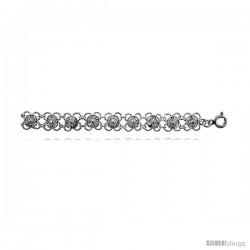 Sterling Silver Charm Bracelet w/ Flowers