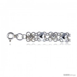 Sterling Silver Charm Bracelets w/ Flowers and Hearts