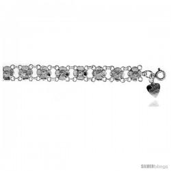 Sterling Silver Charm Bracelet w/ Flowers -Style 6cb419