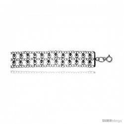 Sterling Silver Double Row Beads Bracelet
