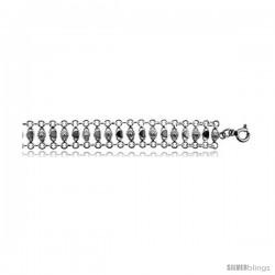 Sterling Silver Charm Bracelet w/ Teeny Flowers -Style 6cb425
