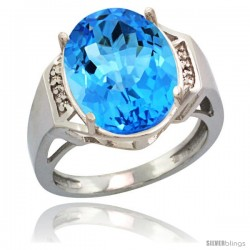 Sterling Silver Diamond Natural Swiss Blue Topaz Ring 9.7 ct Large Oval Stone 16x12 mm, 5/8 in wide