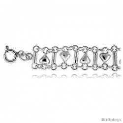 Sterling Silver Charm Anklet w/ Hearts