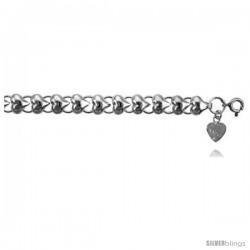 Sterling Silver Charm Bracelet w/ Polished Hearts -Style 6cb430