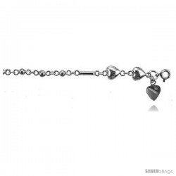 Sterling Silver Charm Bracelet w/ Hearts and Beads -Style 6cb437