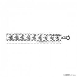 Sterling Silver Charm Bracelet w/ Polished Hearts -Style 6cb438