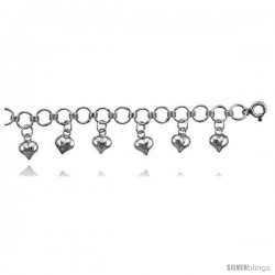 Sterling Silver Charm Anklet w/ Dangling Hearts