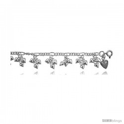 Sterling Silver Charm Anklet w/ Dangling Clustered Teeny Hearts