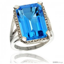 Sterling Silver Diamond Natural Swiss Blue Topaz Ring 14.96 ct Emerald Shape 18x13 mm Stone, 13/16 in wide