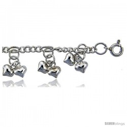 Sterling Silver Charm Bracelet w/ Dangling Clustered Teeny Hearts -Style 6cb449