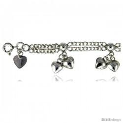 Sterling Silver Charm Bracelet w/ Dangling Clustered Hearts