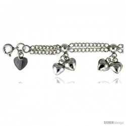 Sterling Silver Charm Anklet w/ Dangling Clustered Hearts