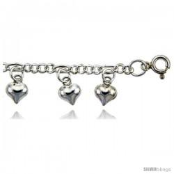 Sterling Silver Charm Bracelet w/ Dangling Puffed Hearts