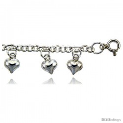 Sterling Silver Charm Anklet w/ Dangling Puffed Hearts