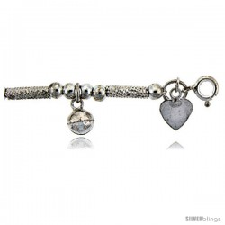 Sterling Silver Charm Bracelet w/ Dangling Puffed Hearts and Chime Balls
