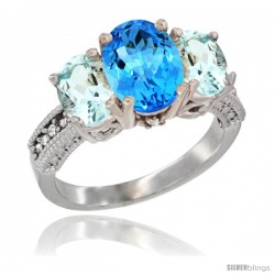 14K White Gold Ladies 3-Stone Oval Natural Swiss Blue Topaz Ring with Aquamarine Sides Diamond Accent