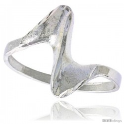 Sterling Silver Freeform Swirl Ring Polished finish 1/2 in wide -Style Ffr550