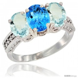 14K White Gold Natural Swiss Blue Topaz & Aquamarine Sides Ring 3-Stone Oval 7x5 mm Diamond Accent