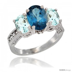 14K White Gold Ladies 3-Stone Oval Natural London Blue Topaz Ring with Aquamarine Sides Diamond Accent