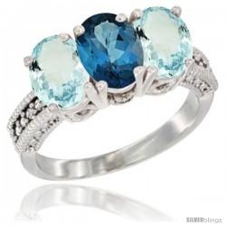 14K White Gold Natural London Blue Topaz & Aquamarine Sides Ring 3-Stone Oval 7x5 mm Diamond Accent