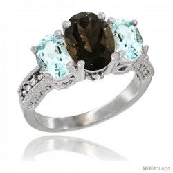 14K White Gold Ladies 3-Stone Oval Natural Smoky Topaz Ring with Aquamarine Sides Diamond Accent