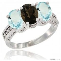 14K White Gold Natural Smoky Topaz & Aquamarine Sides Ring 3-Stone Oval 7x5 mm Diamond Accent