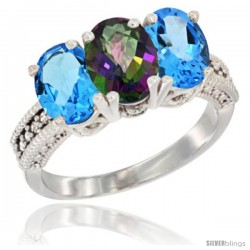 14K White Gold Natural Mystic Topaz & Swiss Blue Topaz Sides Ring 3-Stone 7x5 mm Oval Diamond Accent