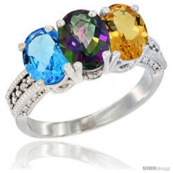 14K White Gold Natural Swiss Blue Topaz, Mystic Topaz & Citrine Ring 3-Stone 7x5 mm Oval Diamond Accent