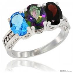 14K White Gold Natural Swiss Blue Topaz, Mystic Topaz & Garnet Ring 3-Stone 7x5 mm Oval Diamond Accent