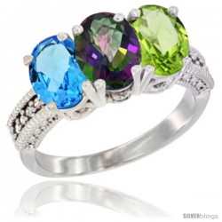14K White Gold Natural Swiss Blue Topaz, Mystic Topaz & Peridot Ring 3-Stone 7x5 mm Oval Diamond Accent