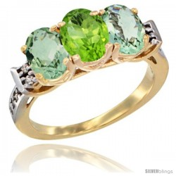10K Yellow Gold Natural Peridot & Green Amethyst Sides Ring 3-Stone Oval 7x5 mm Diamond Accent