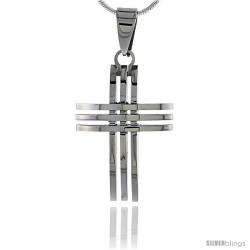 Stainless Steel 3-Bar Cross Pendant 1 1/4 in tall, w/ 30 in Chain