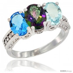 14K White Gold Natural Swiss Blue Topaz, Mystic Topaz & Aquamarine Ring 3-Stone 7x5 mm Oval Diamond Accent