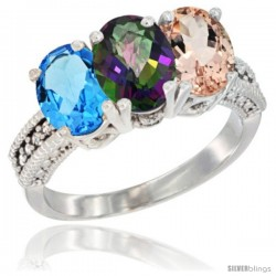 14K White Gold Natural Swiss Blue Topaz, Mystic Topaz & Morganite Ring 3-Stone 7x5 mm Oval Diamond Accent