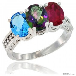 14K White Gold Natural Swiss Blue Topaz, Mystic Topaz & Ruby Ring 3-Stone 7x5 mm Oval Diamond Accent