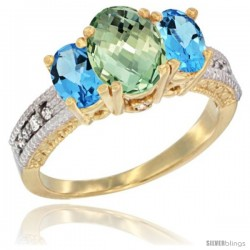 14k Yellow Gold Ladies Oval Natural Green Amethyst 3-Stone Ring with Swiss Blue Topaz Sides Diamond Accent