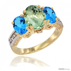 14K Yellow Gold Ladies 3-Stone Oval Natural Green Amethyst Ring with Swiss Blue Topaz Sides Diamond Accent