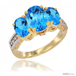 14K Yellow Gold Ladies 3-Stone Oval Natural Swiss Blue Topaz Ring Diamond Accent