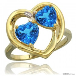 14k Yellow Gold 2-Stone Heart Ring 6mm Natural Swiss Blue & Swiss Blue Diamond Accent