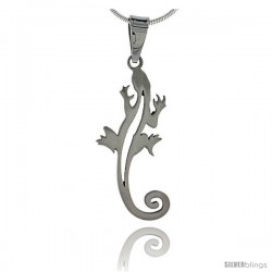 Stainless Steel Gecko Charm 1 5/16 in tall, w/ 30 in Chain