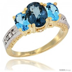 14k Yellow Gold Ladies Oval Natural London Blue Topaz 3-Stone Ring with Swiss Blue Topaz Sides Diamond Accent