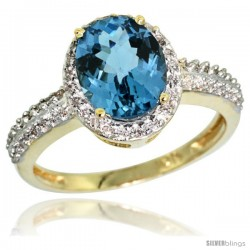 10k Yellow Gold Diamond London Blue Topaz Ring Oval Stone 9x7 mm 1.76 ct 1/2 in wide