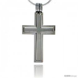 Stainless Steel Cross Pendant 2-Piece Cut Out 1 1/4 in tall, w/ 30 in Chain