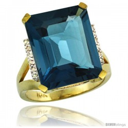 10k Yellow Gold Diamond London Blue Topaz Ring 12 ct Emerald Cut 16x12 stone 3/4 in wide