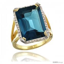 10k Yellow Gold Diamond London Blue Topaz Ring 14.96 ct Emerald shape 18x13 Stone 13/16 in wide