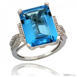 Sterling Silver Diamond Natural Swiss Blue Topaz Ring 12 ct Emerald Shape 16x12 Stone 3/4 in wide
