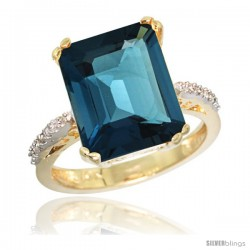 10k Yellow Gold Diamond London Blue Topaz Ring 5.83 ct Emerald Shape 12x10 Stone 1/2 in wide