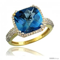 10k Yellow Gold Diamond Halo London Blue Topaz Ring Checkerboard Cushion 11 mm 5.85 ct 1/2 in wide