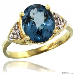 10k Yellow Gold Diamond London Blue Topaz Ring 2.40 ct Oval 10x8 Stone 3/8 in wide
